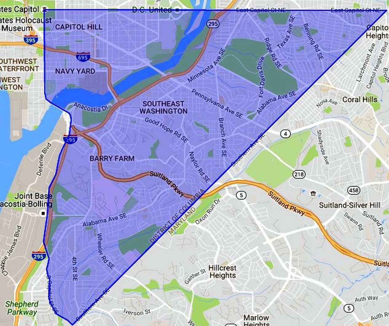 SE Washington DC: A Map and Neighborhood Guide on