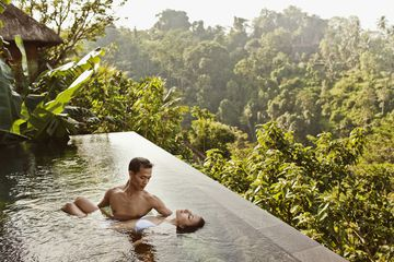 Wellness tourism, tourists in infinity pool