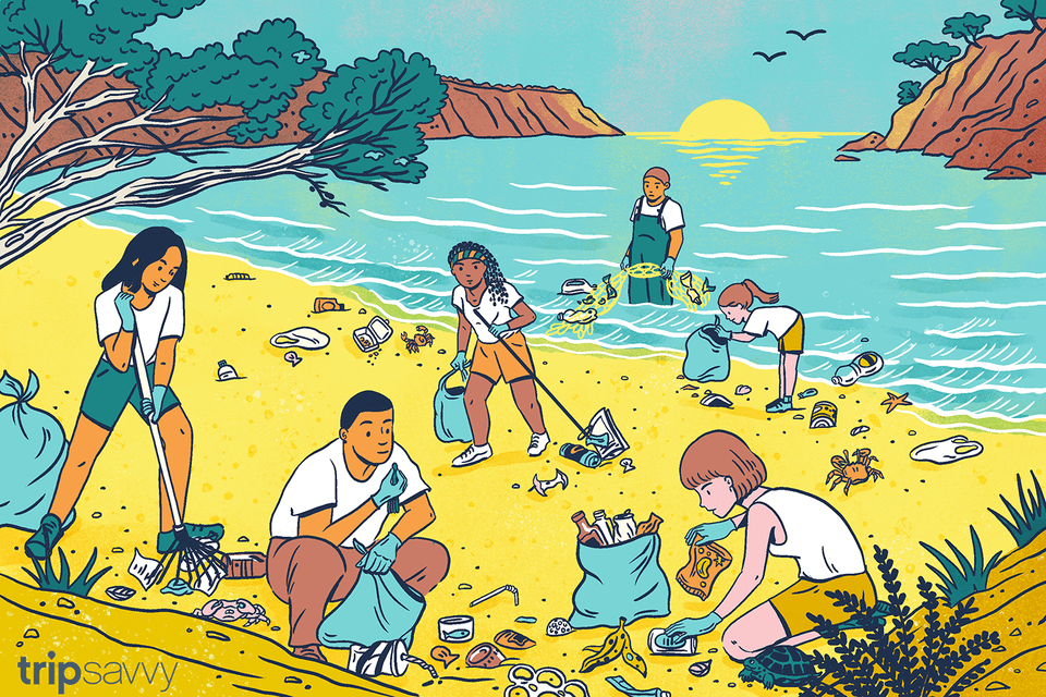 Illustration of people cleaning up a beach in Menorca