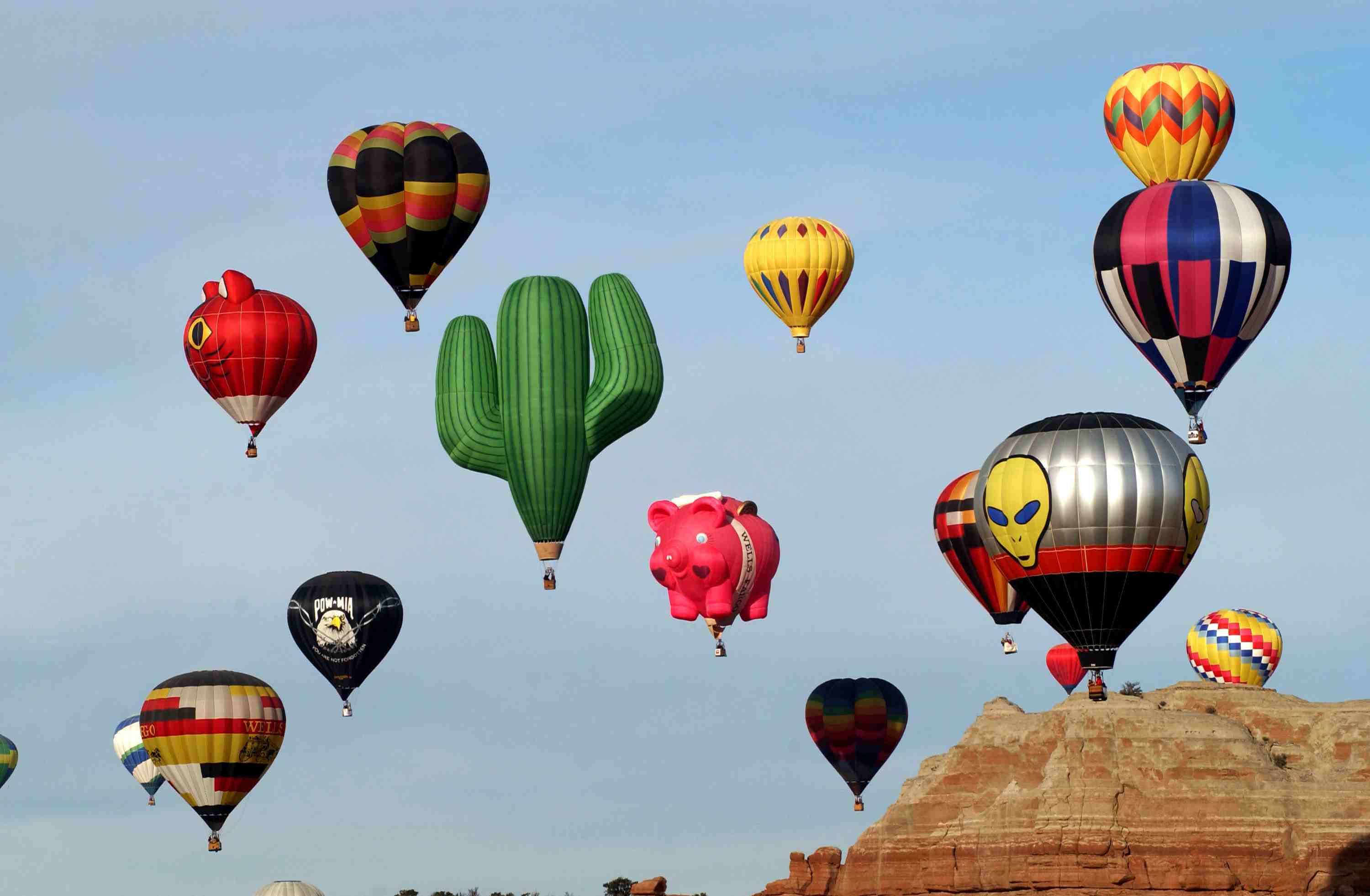 hot air balloons at the Red Rock Balloon Rally near Gallup, New Mexico