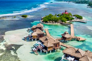 Aerial view of Overwater Villas at Sandals Royal Caribbean
