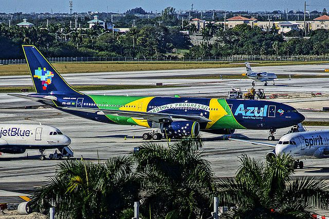 An Azul Brazilian Airlines Airbus A330-200 widebody jet at Fort Lauderdale-Hollywood International Airport.