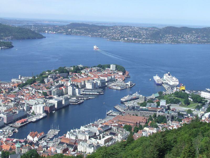 View of Vagen Harbor in Bergen from the Top of Mount Floyen