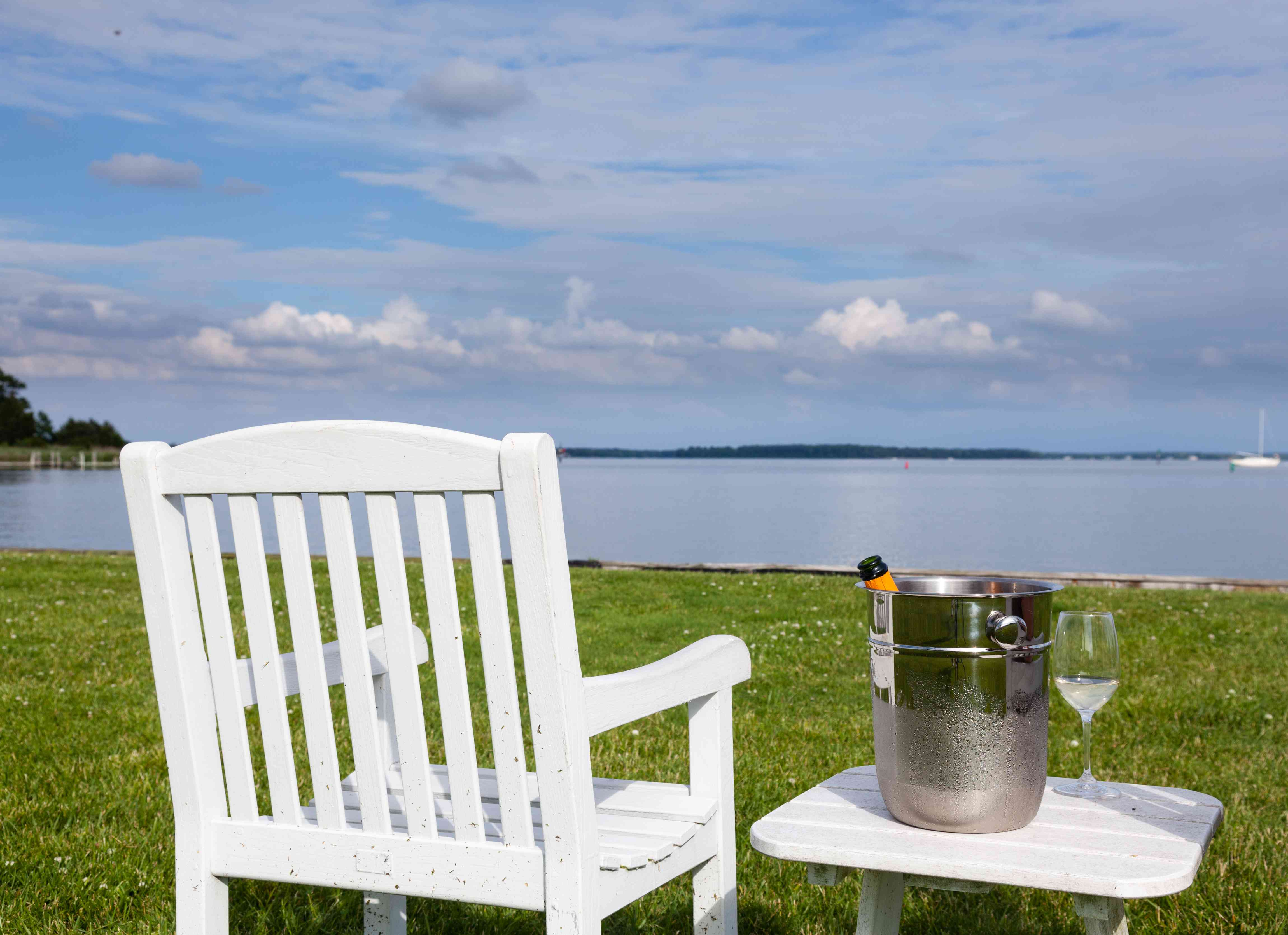 Chair with bottle of wine overlooking Chesapeake Bay
