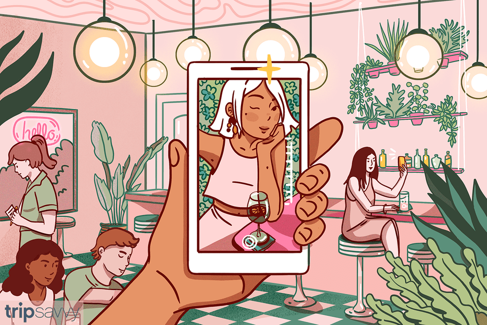 Illustration of a woman taking a selfie in a restaurant filled with IG classic design