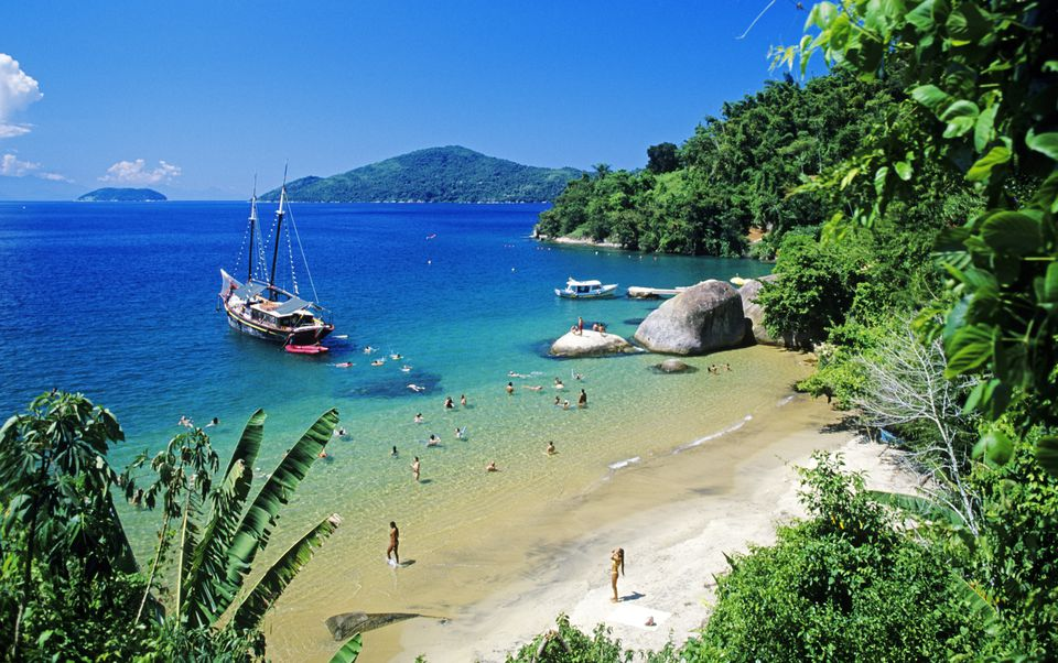 Brazil, Rio de Janeiro state, Costa Verde, Parati, Praia da Lula Beach is reached only after 2 hours of boat