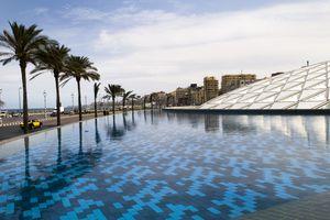Glass Roof and Pool of Bibliotheca Alexandrina, Alexandria