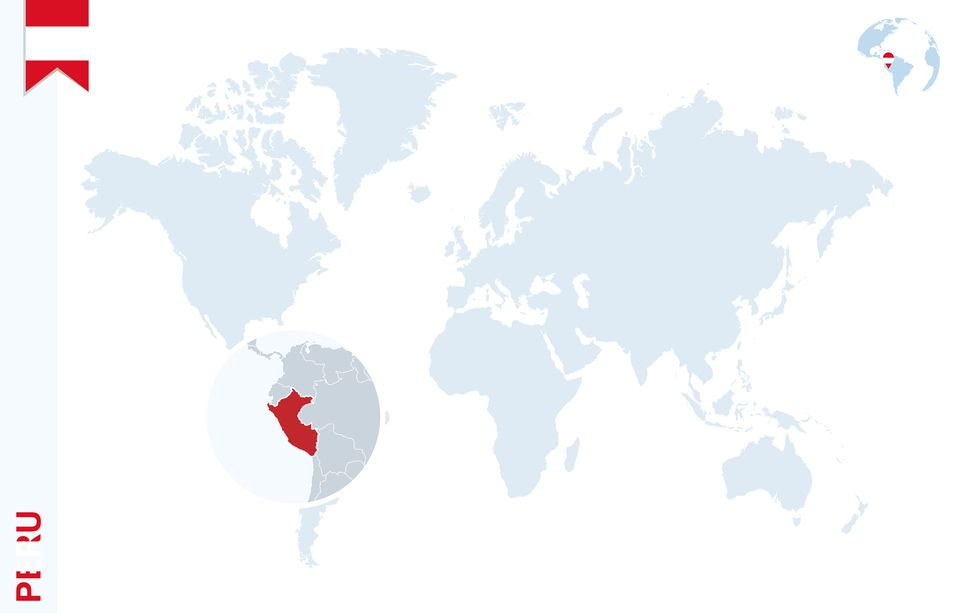 Peru on map of world