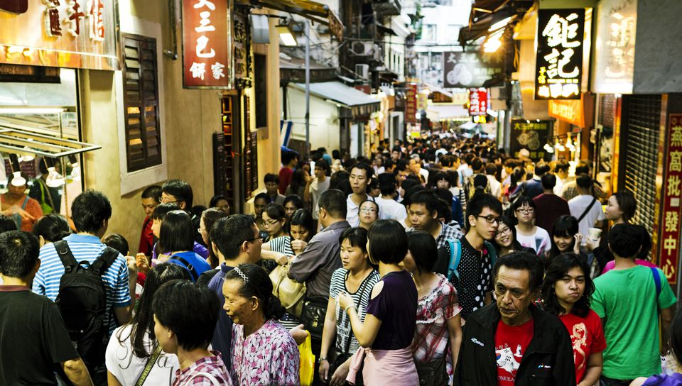 A crowded sidewalk in China