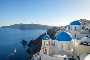 Blue sea in summer, greek islands, Santorini