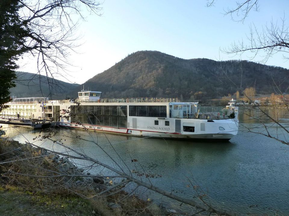 Viking Njord at the dock on the Danube River in Durnstein, Austria