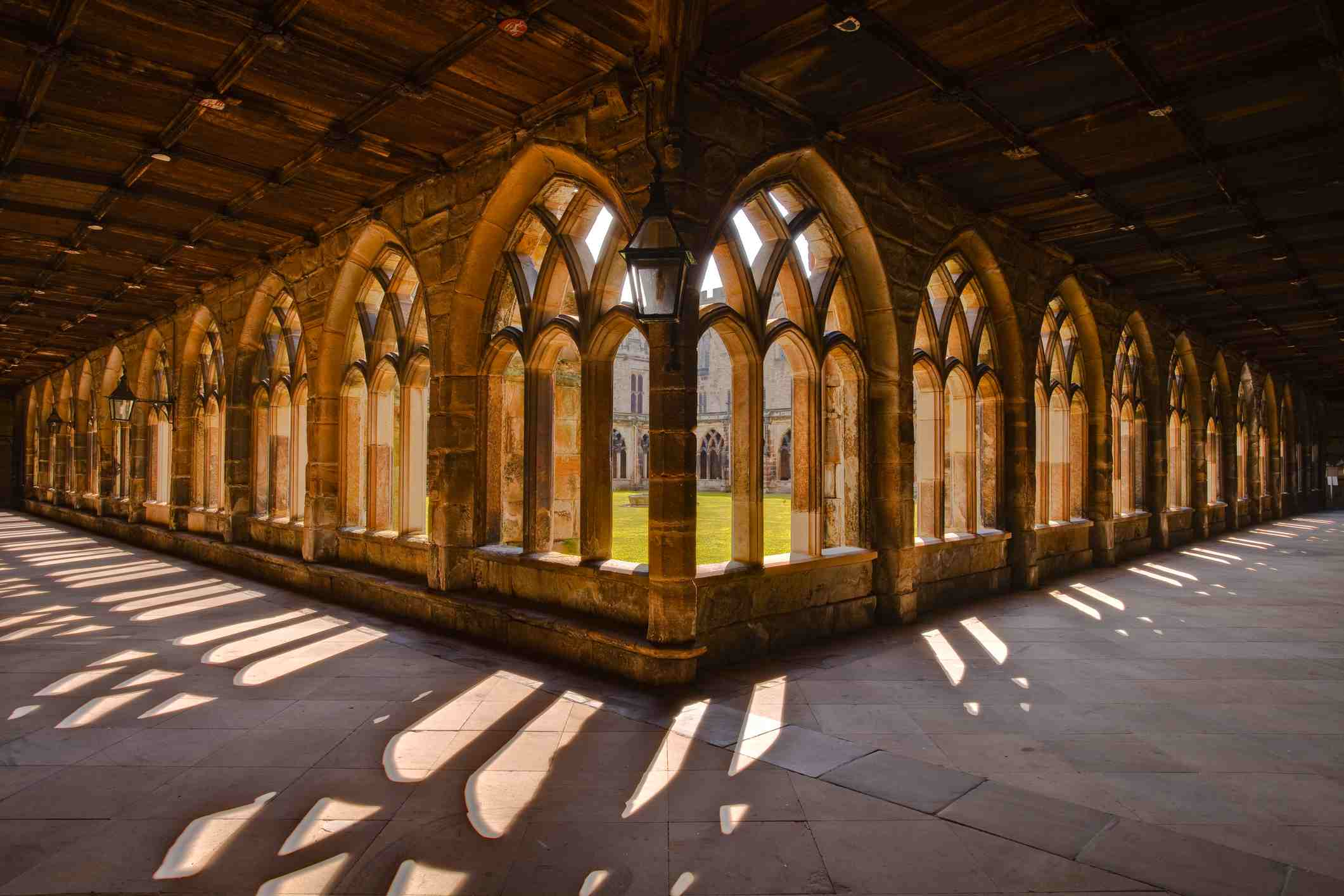 The cloisters of Durham cathedral.
