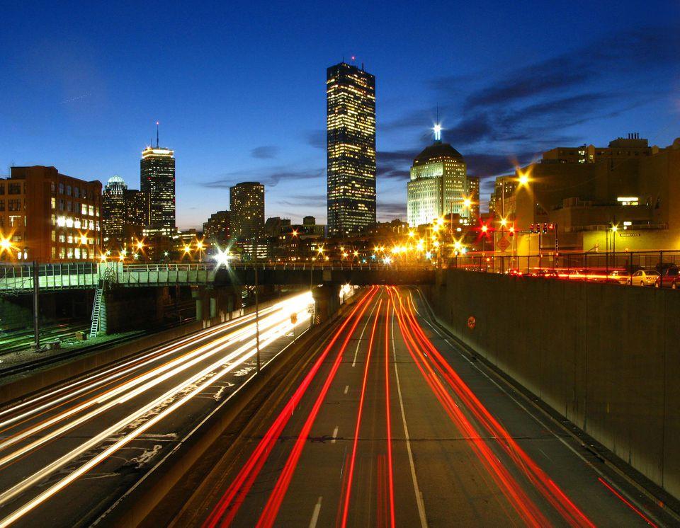 Mass pike at sunset outside of boston
