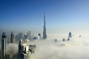 Skyscrapers poke through the clouds in Dubai