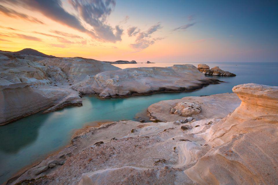Famous Sarakiniko beach on Milos island, Greece.