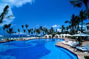 Maui, Grand Hyatt Wailea Resort, pool w/ palm trees and blue skies