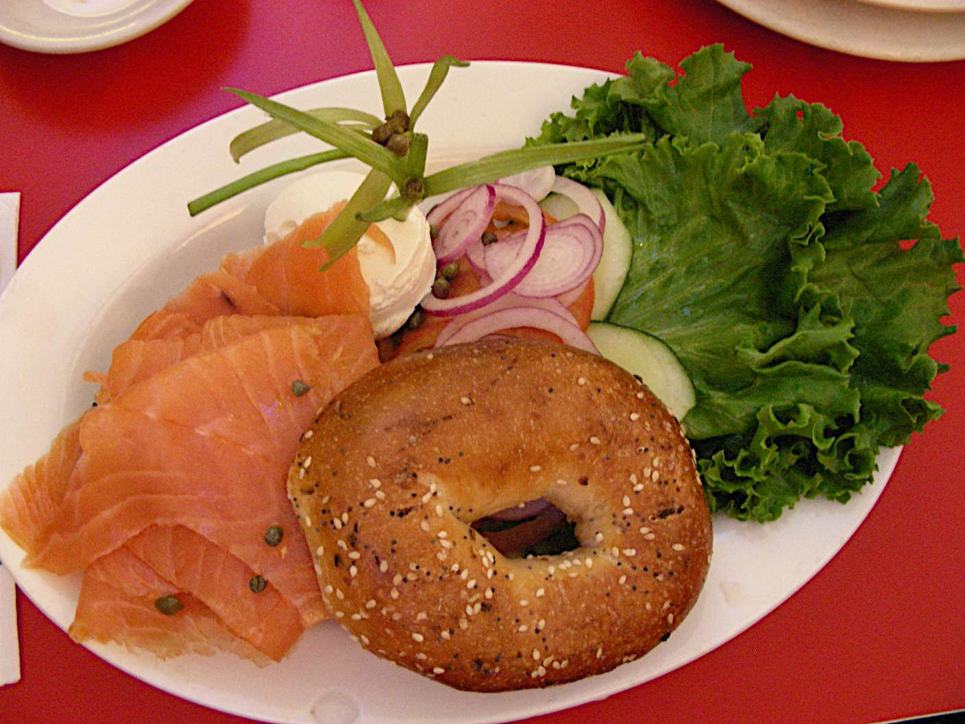 A New York must-eat: bagel, lox (cured salmon) and schmear (cream cheese)