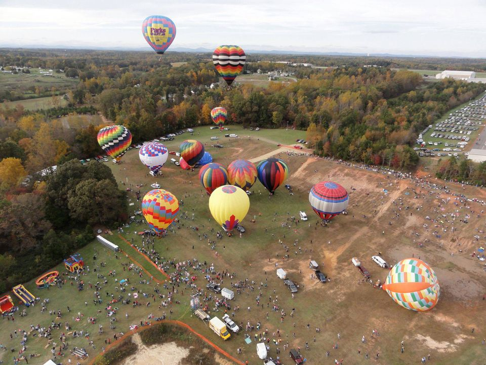 Aerial shot of hot air balloons