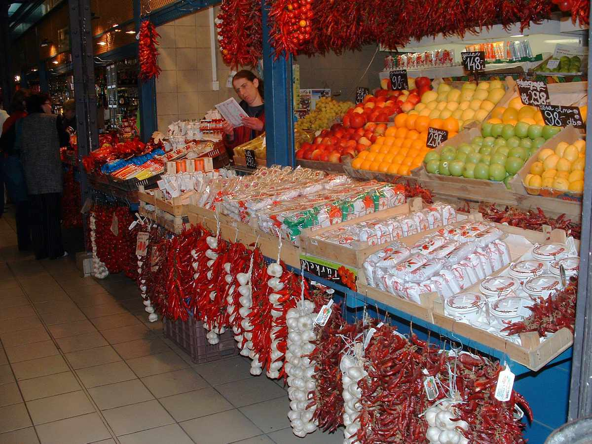 Paprika Peppers for Sale at the Budapest Central Market in Budapest, Hungary