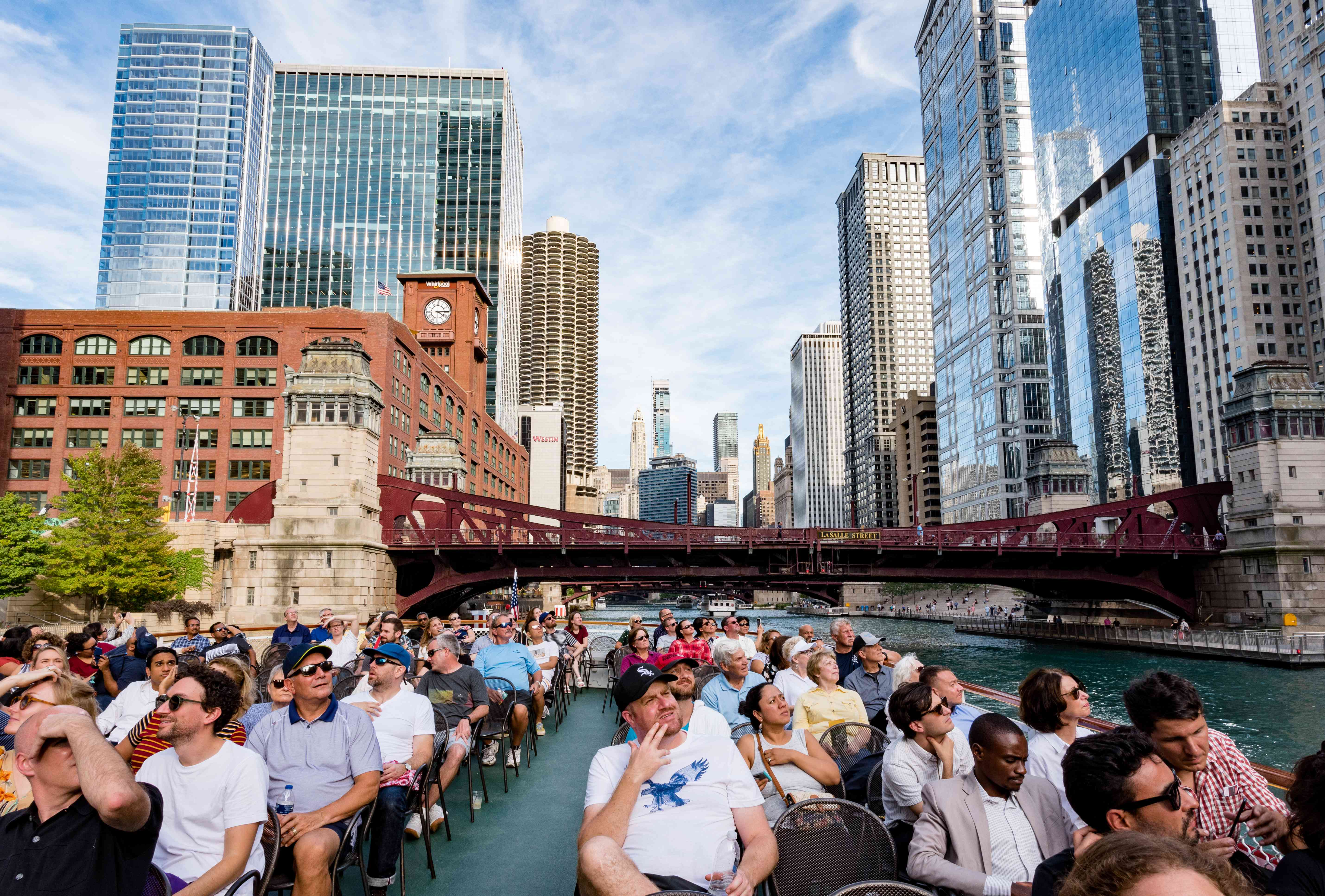 People on an architecture cruise in Chicago