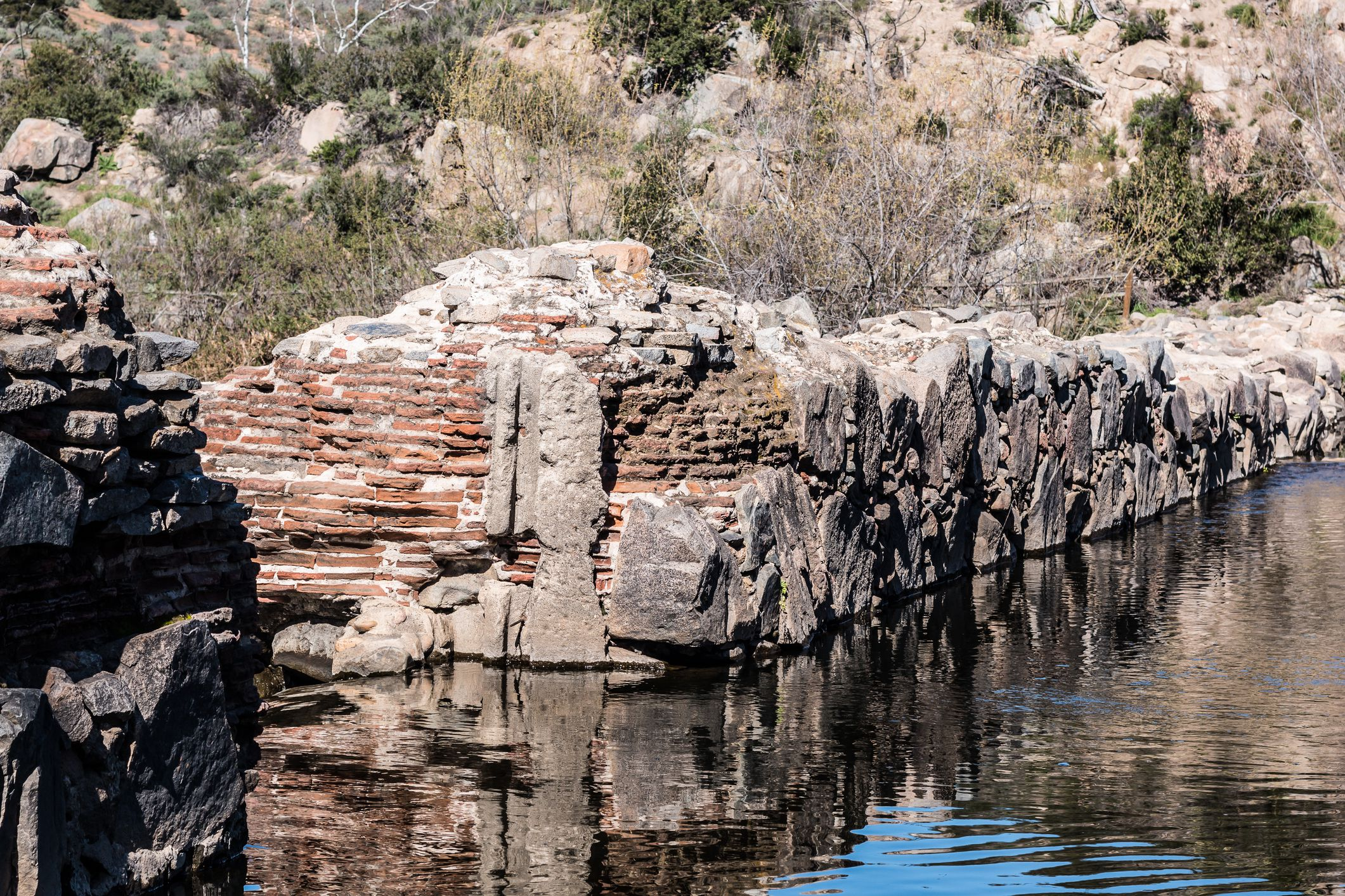 Close-up of the Old Mission Dam in San Diego