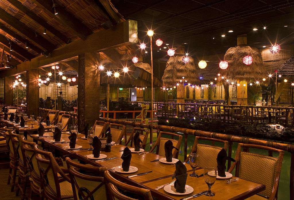 Inside the iconic Tonga Room lit with string lanterns