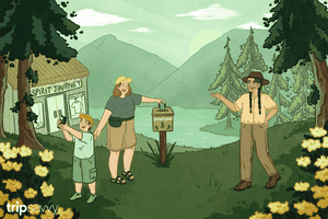 Illustration of visitors on Indigenous land following article's tips on how to be respectful