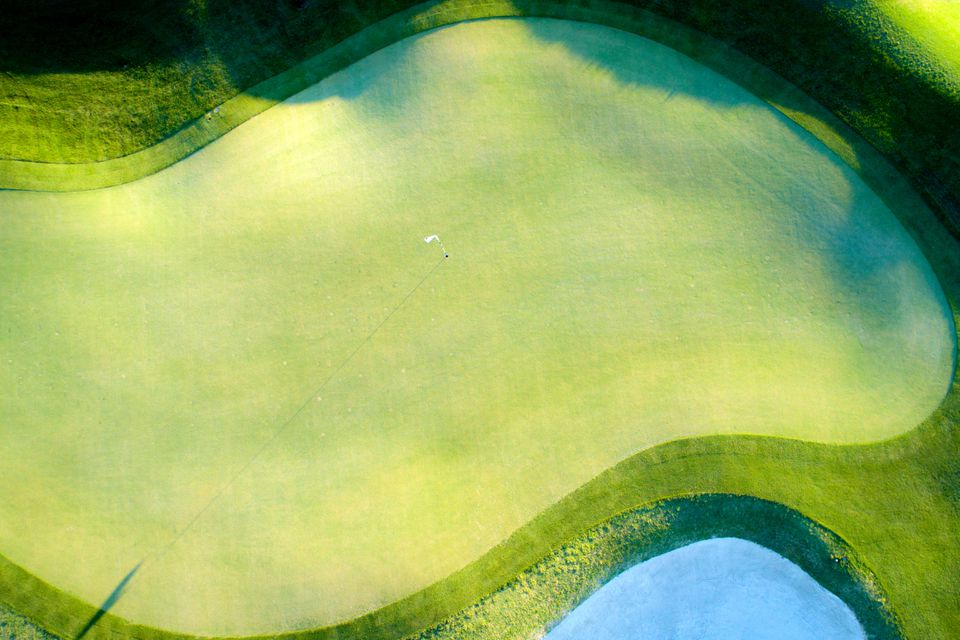An overhead view of a Tucson putting green