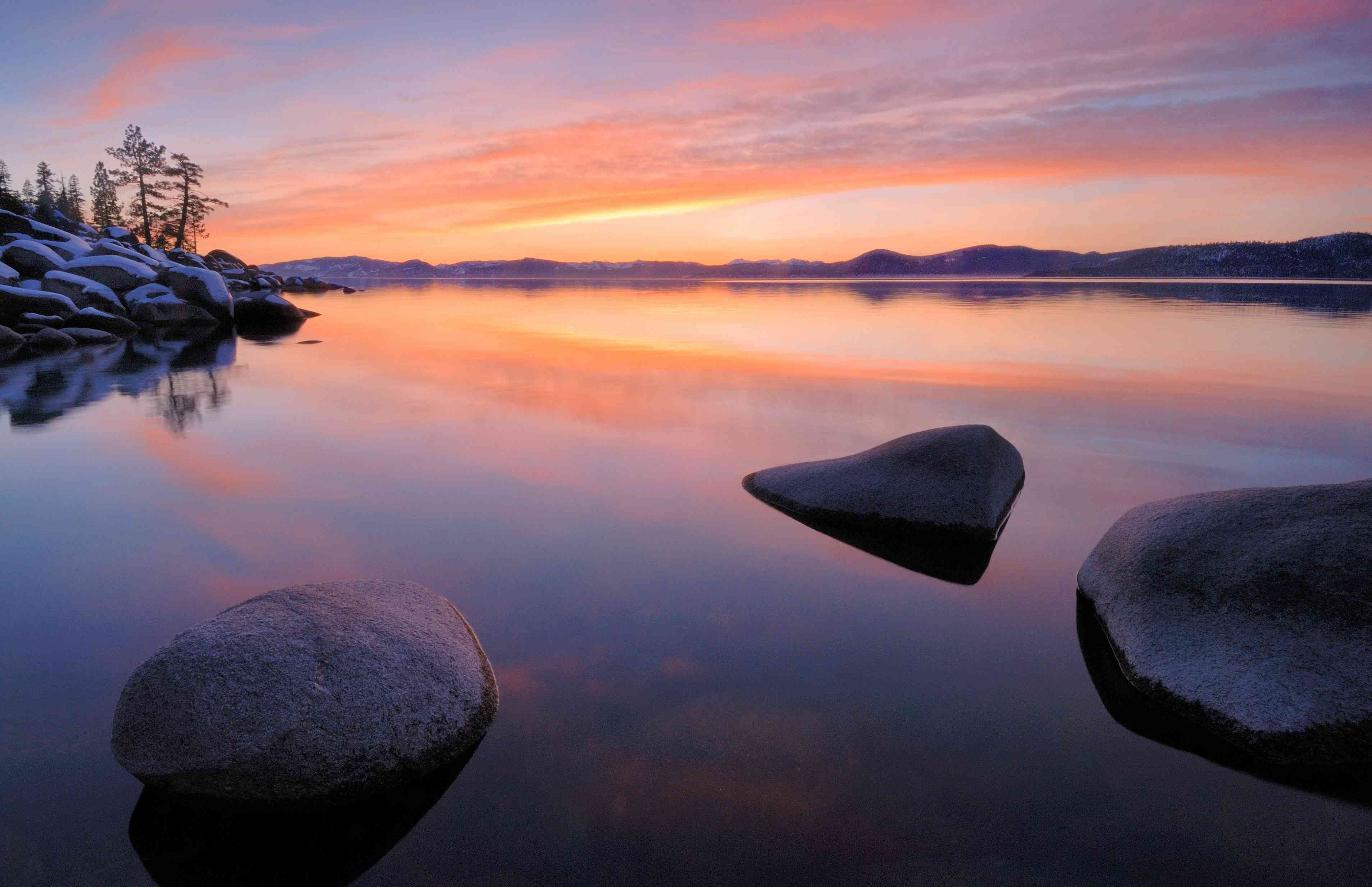 Sand Harbor at sunset Lake Tahoe State Park, Nevada