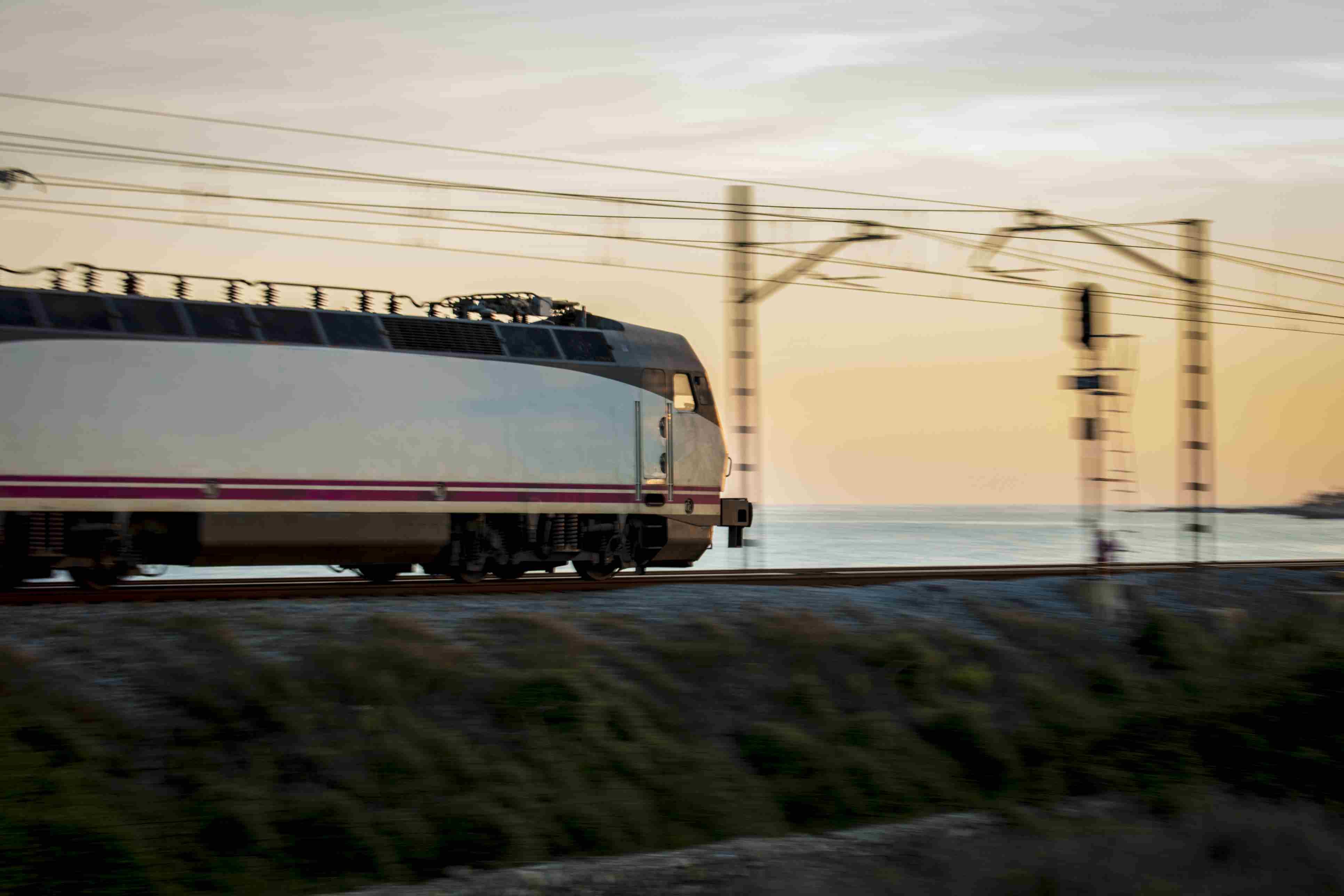 Train circulating through the tracks in Barcelona