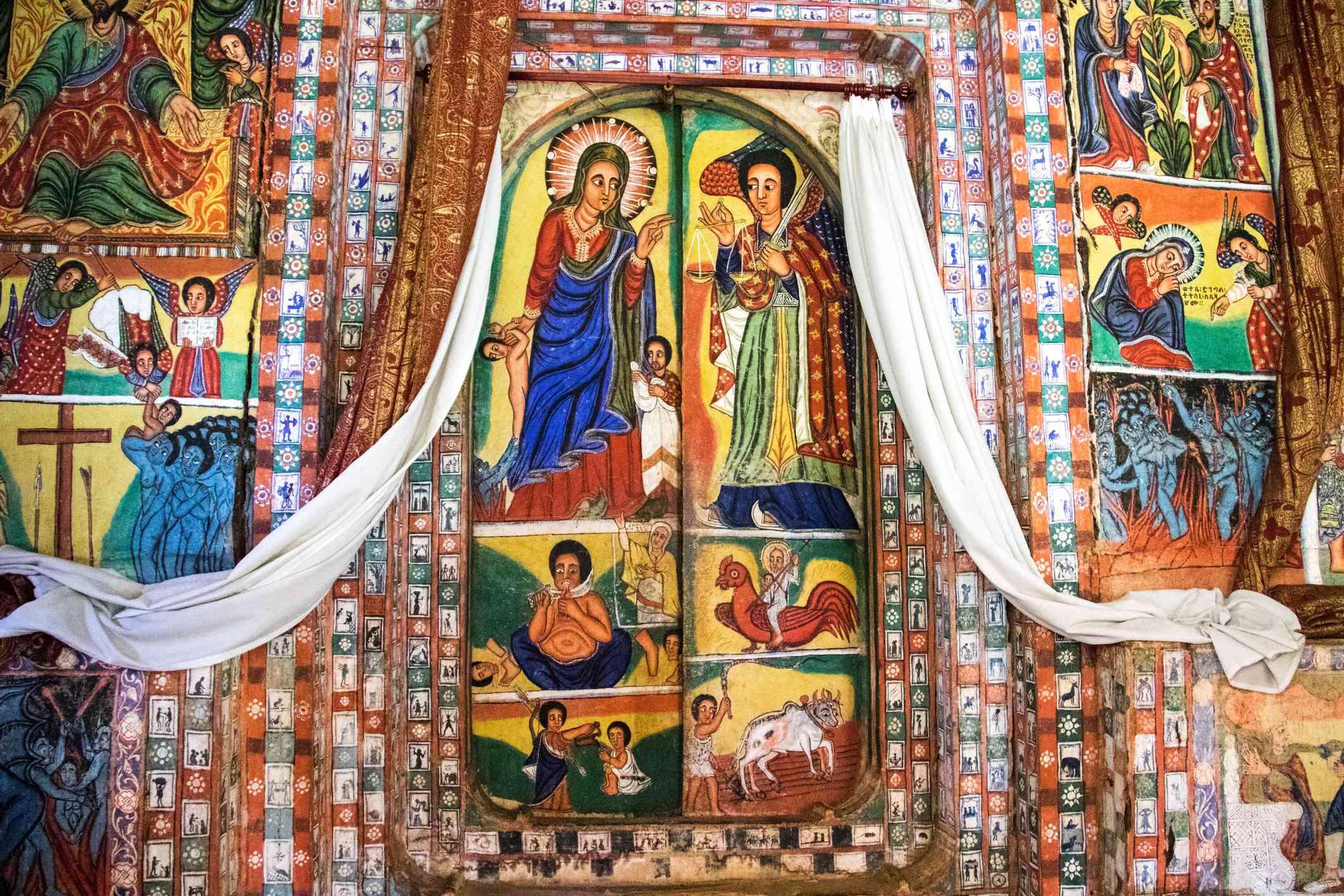 Religious frescoes in a monastery on Lake Tana, Ethiopia