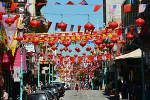 Chinese Lanterns Hanging Over Street in San Francisco
