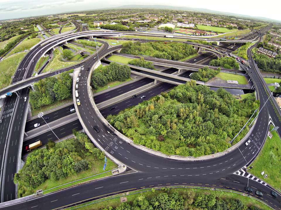 Aerial view of M50 road junction in Dublin Ireland