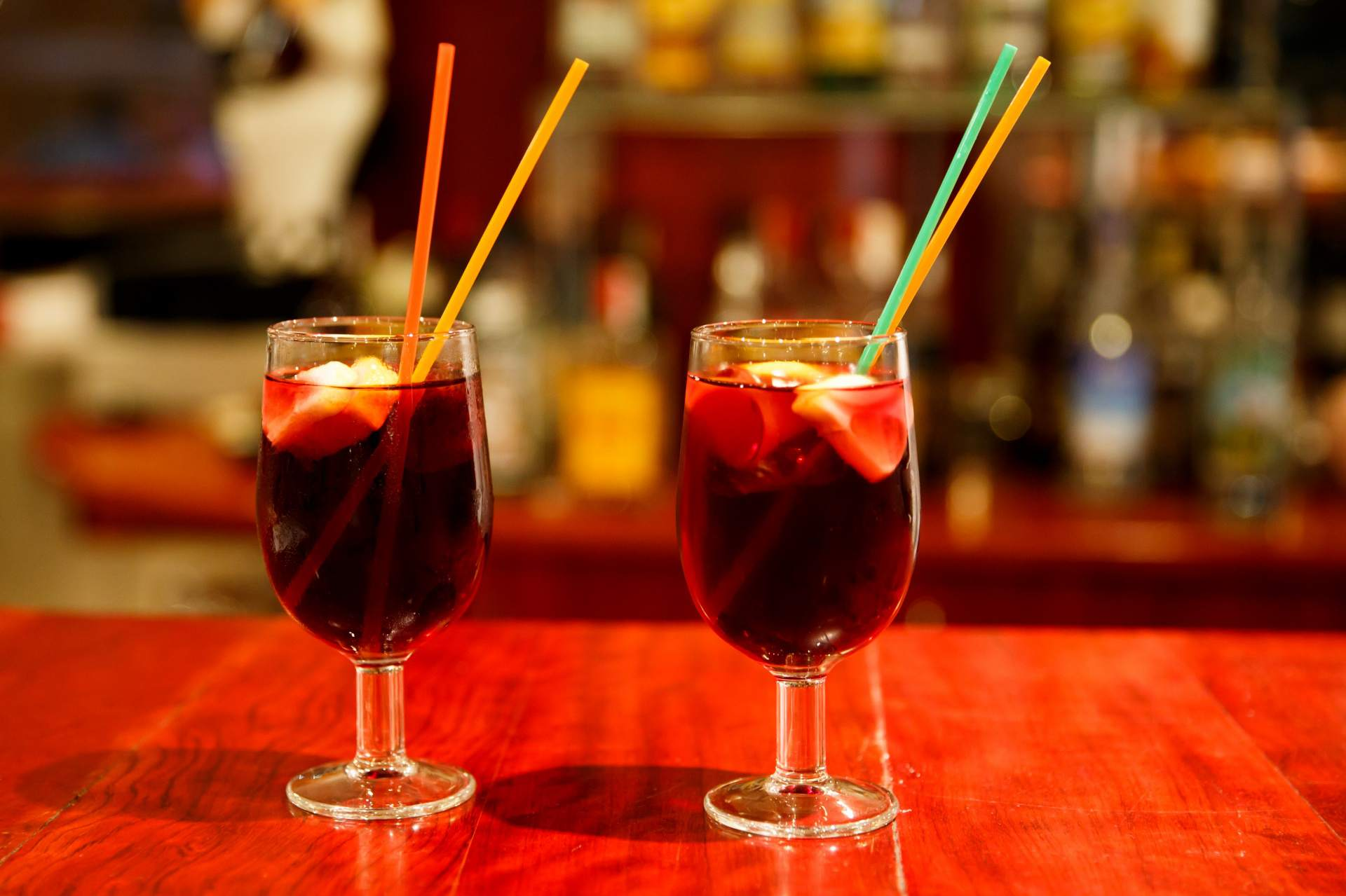 Glasses of sangria on a table