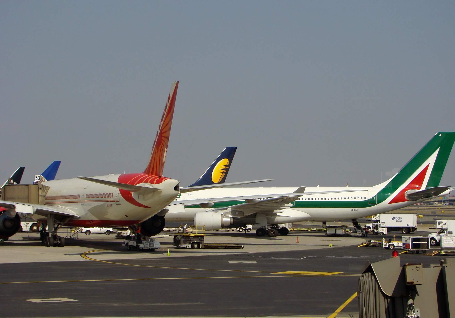 A busy tarmac at Newark Airport