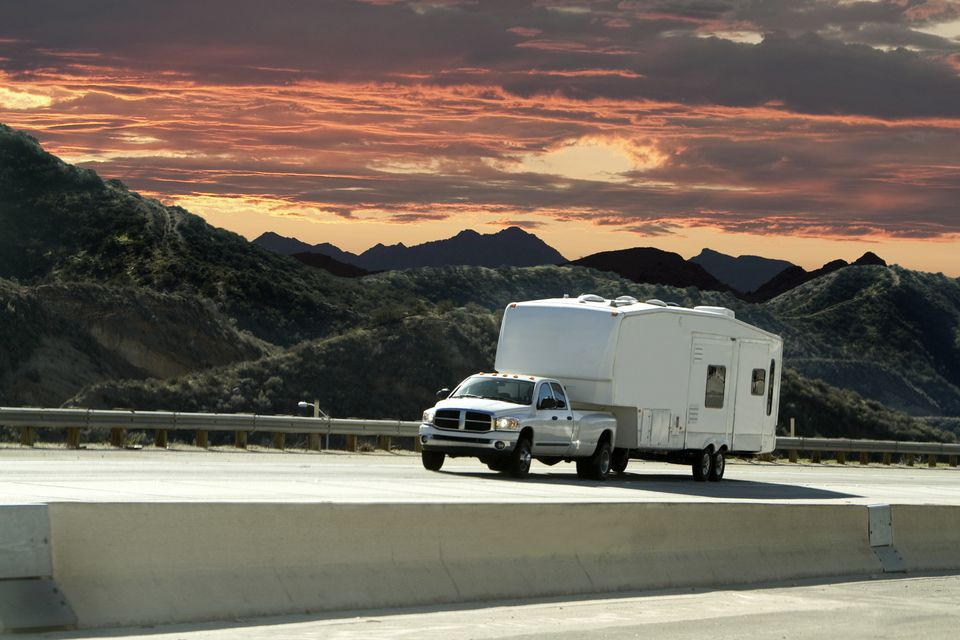 Truck towing a fifth wheel RV