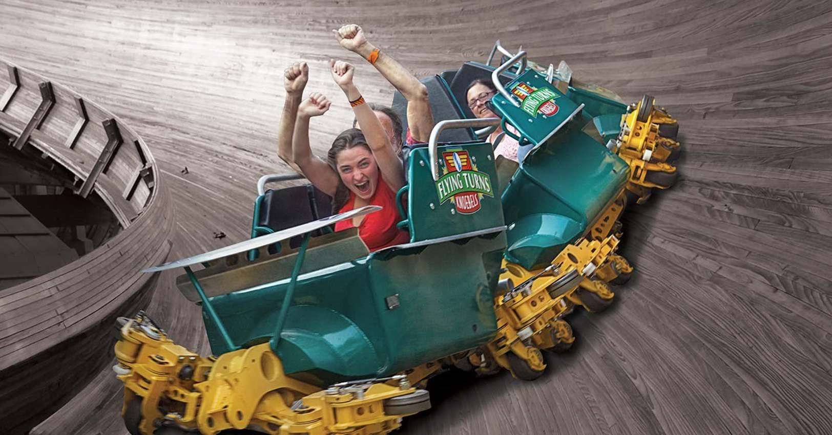 people screaming on the Flying Turns bobsled coaster at Knoebels