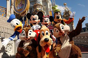 Mickey and friends at Cinderella Castle