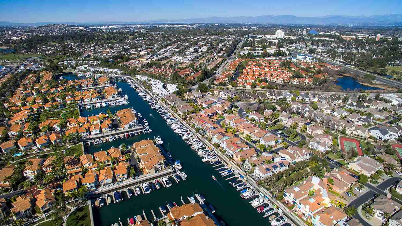 Aerial views over Los Alamitos Harbor in Long Beach.