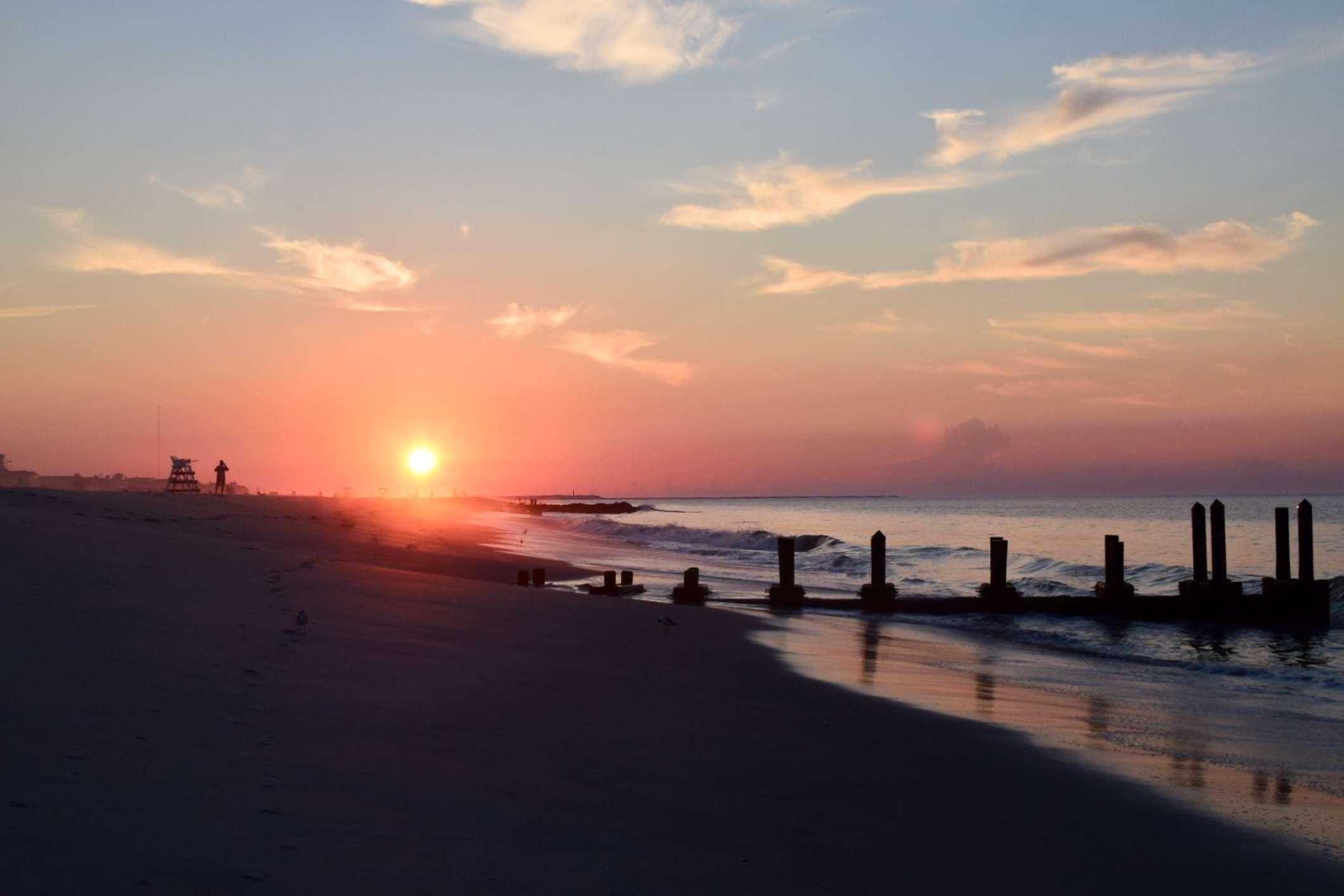 Cape May beach at sunset
