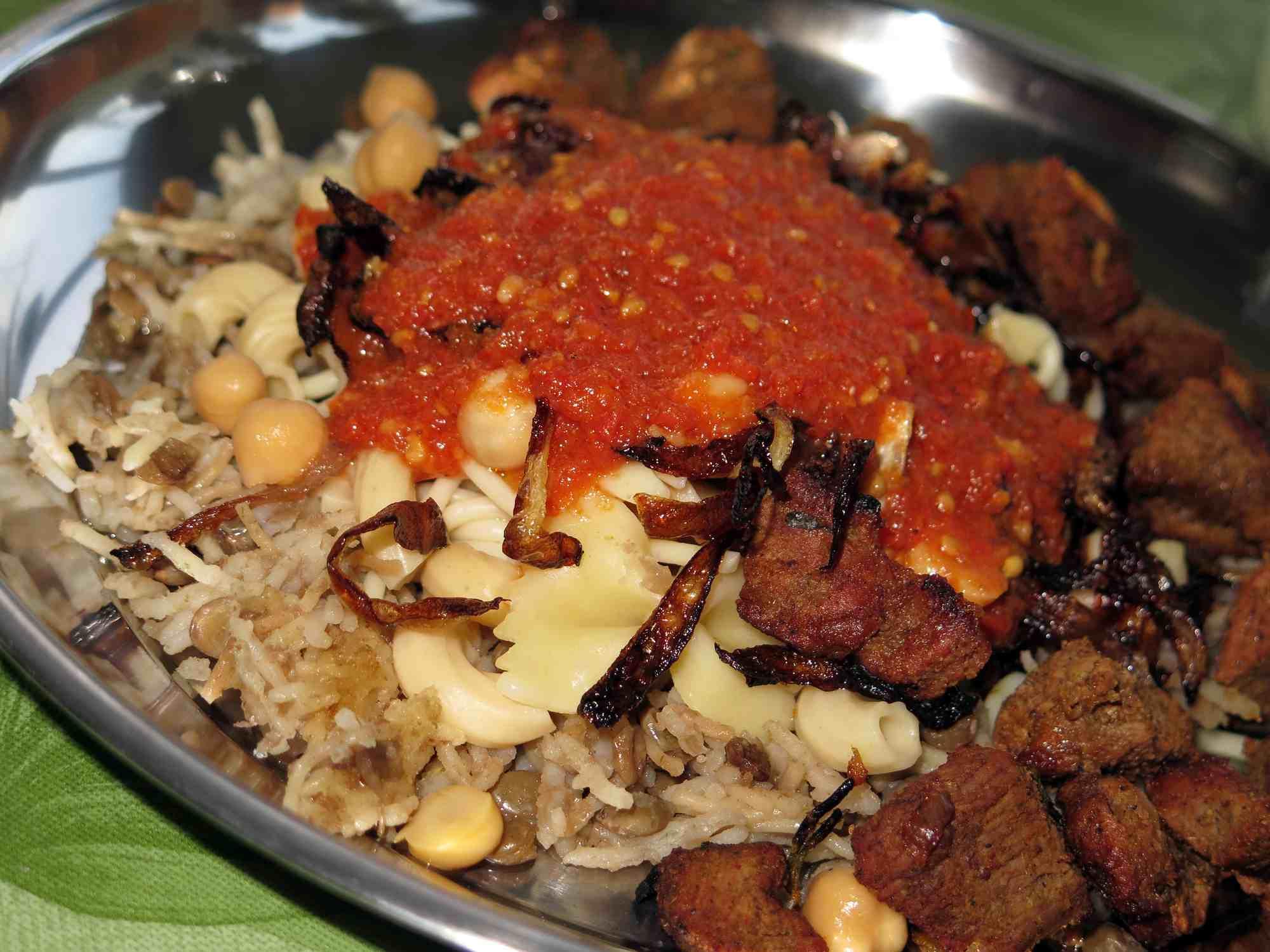 Koshary, a traditional Egyptian dish