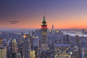 The Empire State Building and the New York City skyline, as seen from uptown