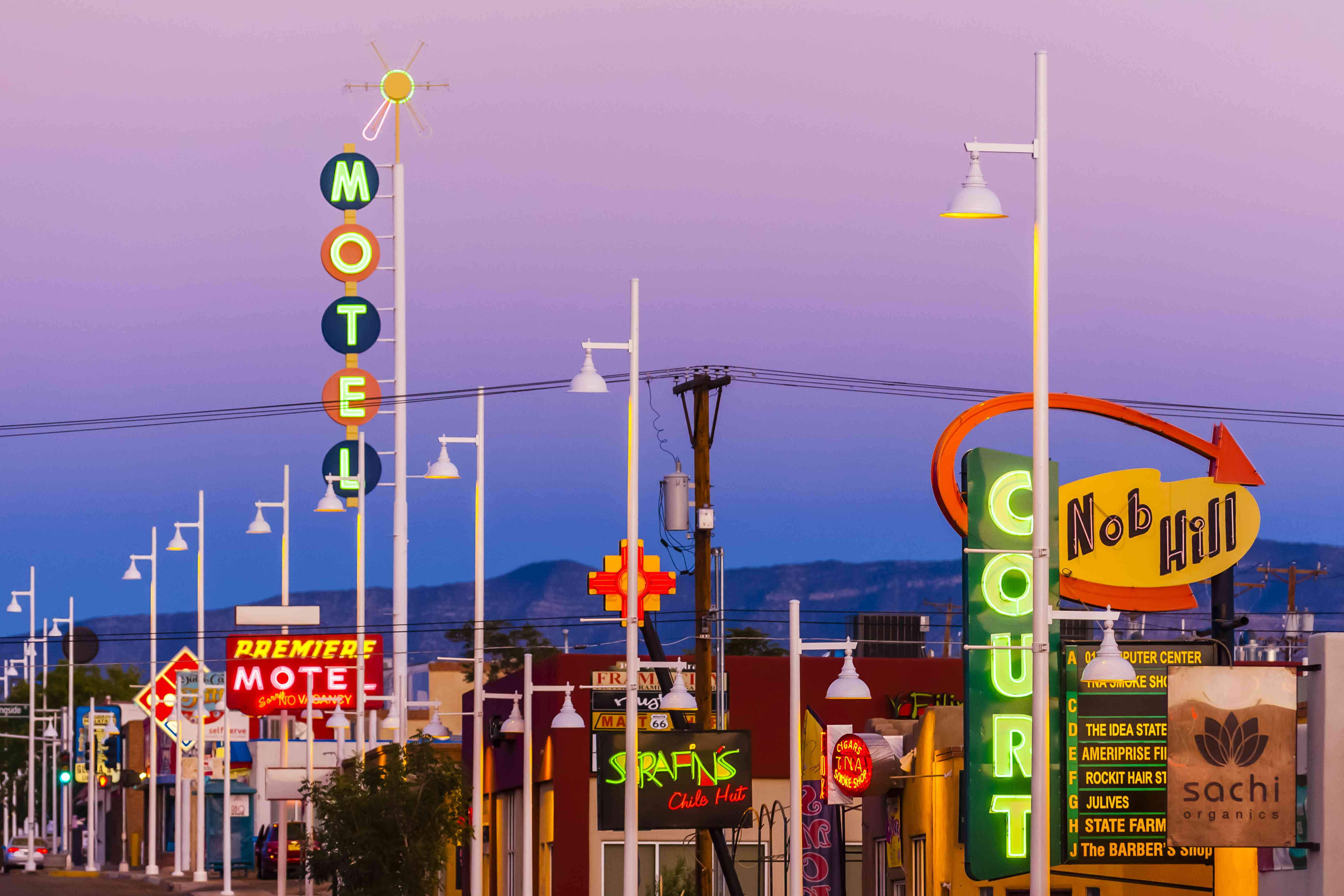 Central Avenue (Historic Route 66) in the Nob Hill section of Albuquerque