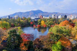 Autumn trees around a metropolitan lake with mountains in the far distance