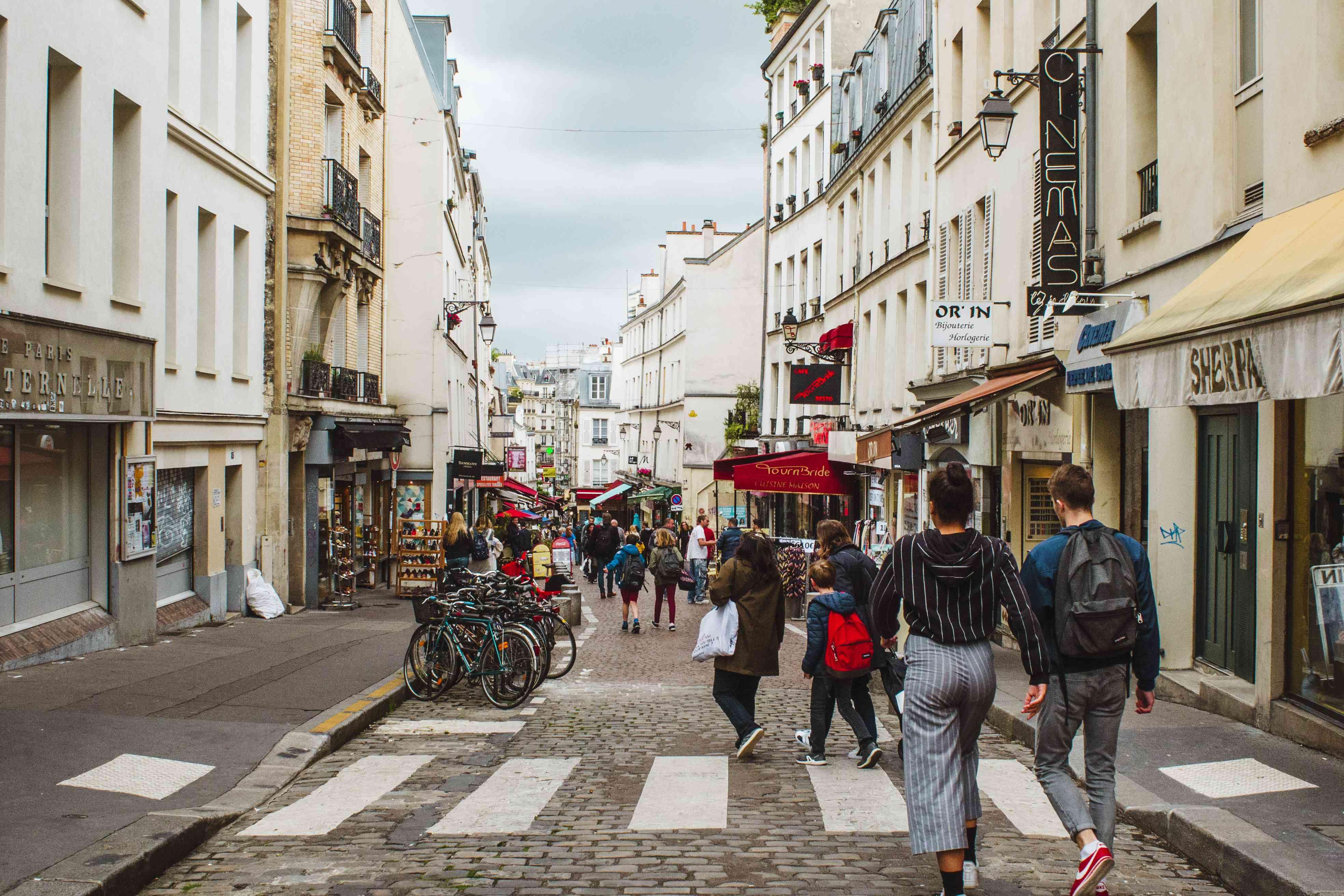 People walking down Rue Mouffetard