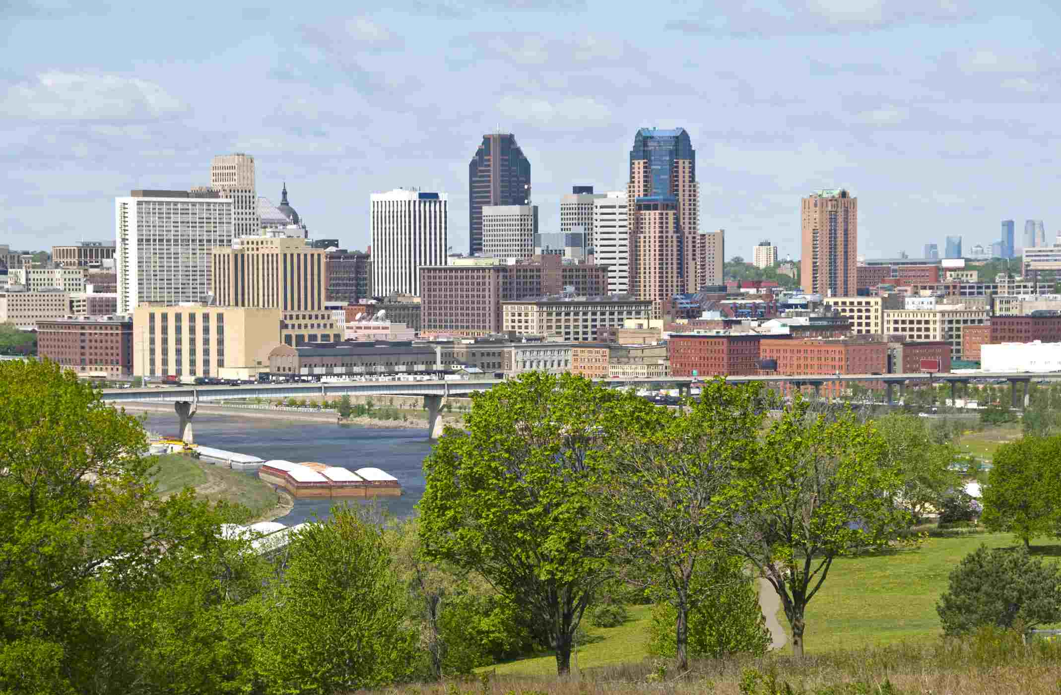 St. Paul and Mississippi River in Minnesota in spring