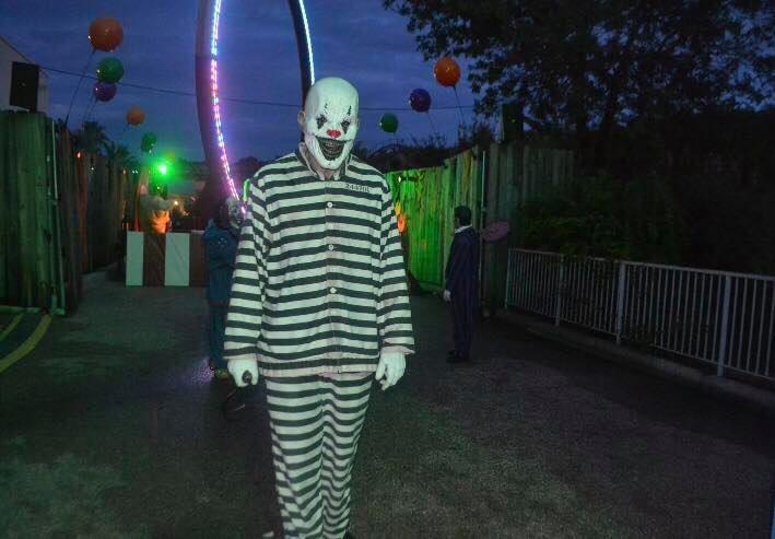 Fright Fest clown at Six Flags Fiesta Texas