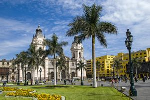 View over the Plaza Mayor or Plaza de Armas in the historic and Spanish colonial city center of Lima, Peru.