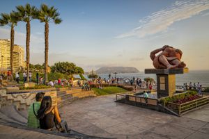 Love Park on El Malecon in Miraflores, with Barque del Amor a sculpture of an embracing couple
