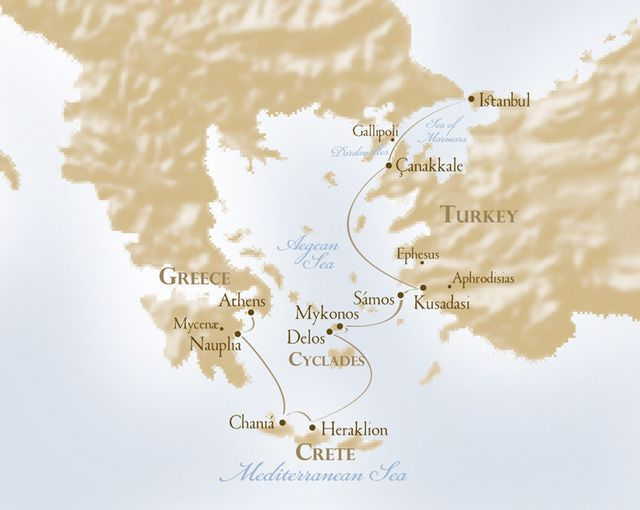 "Itinerary map of Voyages to Antiquity ""The Isles of Greece"" cruise from Athens to Istanbul on the Aegean Odyssey"